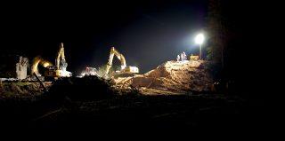 chantier de construction de nuit